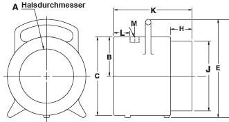 Abmessungen Super Air Amplifier Modelle 120028