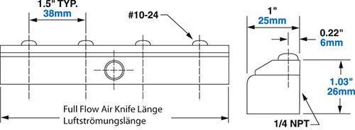 Aluminium Full-Flow Air Knife Abmessungen
