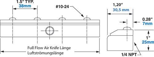 Edelstahl Full-Flow Air Knife Abmessungen