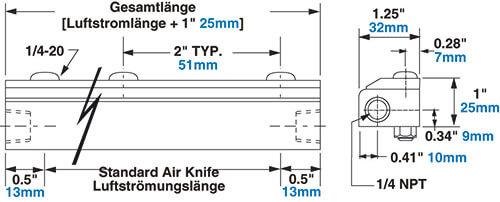 Edelstahl Standard Air Knife Abmessungen