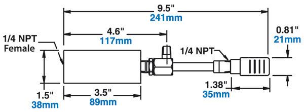 Kleines Wirbelrohr mit Schalldämpfer - Abmessungen