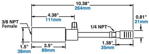 Mittleres Wirbelrohr mit Schalldämpfer - Abmessungen