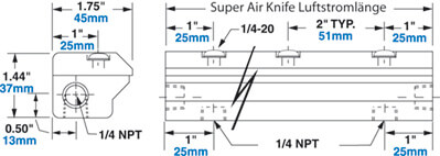 Aluminium Super Air Knife Abmessungen