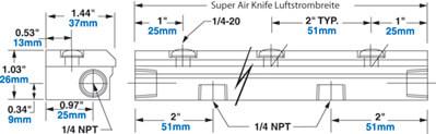 Edelstahl Super Air Knife Abmessungen