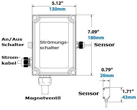 Elektronischer Strömungsschalter für Druckluft Abmessungen