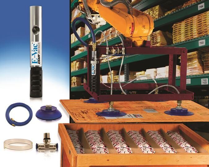 Vakuumpumpen - Ein E-Vac der Ausführung In-Line (porös) wird zum Anheben von Sperrholz einer Lattenkiste in der Warenannahme verwendet.
