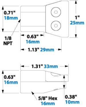 Flachstrahldüse Flat Super Air Nozzle 1126 Abmessungen Dimensions