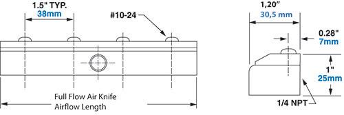 Steel Full-Flow Air Knife Dimensions