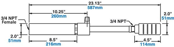 Großes Wirbelrohr mit Schalldämpfer - Abmessungen