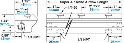 Aluminium Super Air Knife Dimensions