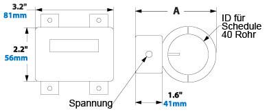 Digitaler Durchflussmesser Abmessungen 9090