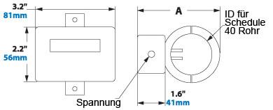 Digitaler Durchflussmesser Abmessungen 9096