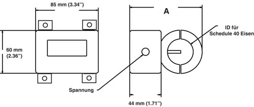 Digitaler Durchflussmesser Abmessungen 9090Z neu