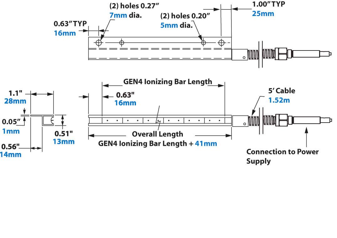 Ionizing Bar Dimensions