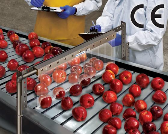 Luftvorhang Super Air Knife beim Trocknen von Äpfeln