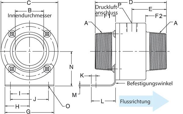 Vakuumförderer mit Schraubgewinde Abmessungen