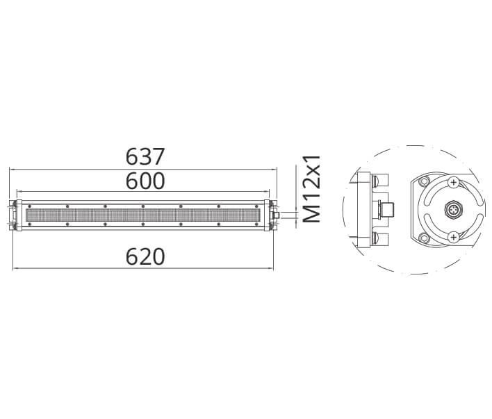 Abmessungen Wide1 24 V 40 Watt
